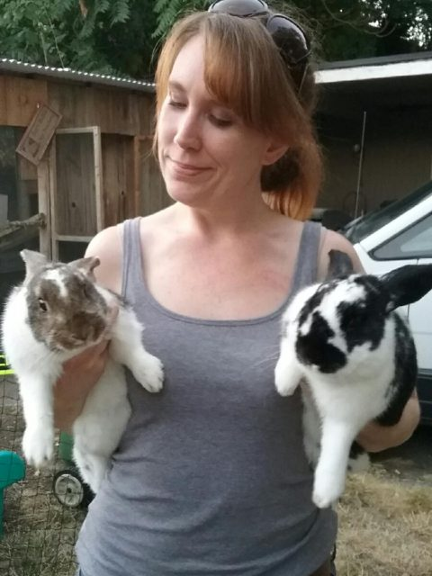 woman and bunnies